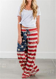 Europa harem pants moda online-Vendite calde Europa Fashion Flare Pants bandiera americana stampa allentata casuale donne Harem leggero Pantaloni Capris Polyster S-XL taglia