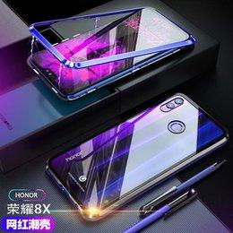 2019 carte de crédit moto Cas magnétique de téléphone d'adsorption de luxe d'adsorption pour Huawei 8X cas d'aimant cadre en métal en verre trempé couverture arrière Huawei Honor 8x pare-chocs