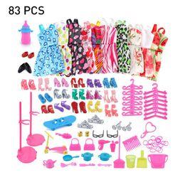 барби платье розовое Скидка 2019 новое платье наряд ручной работы топ мода юбка партия одежда набор с 10 шт юбки и 73 шт. куклы аксессуары