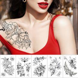 2019 modelli di peonia Autoadesivo del tatuaggio temporaneo impermeabile Schizzo linea peonia modello tatoo trasferimento dell'acqua Rose body art braccio falso tatuaggio per le donne modelli di peonia economici
