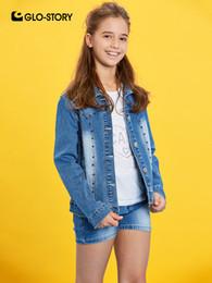 2019 remaches de la chaqueta de las muchachas GLO-STORY New Girls Rivet Turn-Down Collar Denim Chaquetas Outwear Abrigos Niños Jeans Chaquetas para niñas Botón de cierre GSX-8049 remaches de la chaqueta de las muchachas baratos
