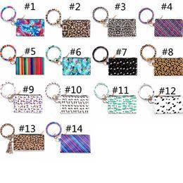 2019 presente do natal da coruja bolsa de lona PU pulseira de couro bolsas de couro das mulheres Bracelet Kaychain Designer Carteira Leopard Wristlet embreagem saco da Moda de impressão Bolsas HHA1107