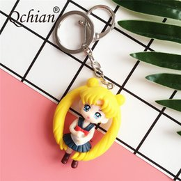 sailor moon anime figures Coupons - Hot Anime Sailor Moon Keychain for Women Bags Accessories Mars Jupiter Mercury Key Chains Ring Holder PVC Figures Toys