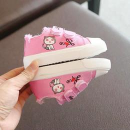 Zapatillas de lona rosa bebé online-Nuevos zapatos de lona para bebés Zapatos de lona para niños de 1 a 3 años Zapatillas de deporte para niñas cómodas Zapatillas para niños pequeños en colores rosados