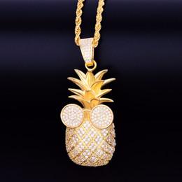 collares de roca para las mujeres Rebajas Forma de piña de oro collar colgante con cadena de la cuerda Cubic Zircon hombres mujeres Hip hop Rock joyería 2.5x5.7 CM