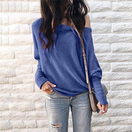 women off shoulder tee Coupons - Long Lantern Sleeve Off Shoulder T Shirts Solid Color Loose Tops Tees Autumn Hoodie for Women Clothes Drop ship 220238