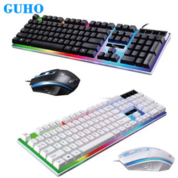 Filz mäuse online-GUHO G21 Wired USB Glowing Gaming Tastatur und Maus 1600DPI Computer Mechanische Feel Backlit Keyboard Mouse Set Teclado Clavier