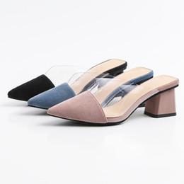 Zapatos de tacón de bloque rosa online-Moda mujer zapatillas transparentes mulas cómodo tacones de bloque zapatos de mujer zapatos de verano zapatos de vestir