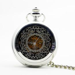 Sehe alte mode online-Fashion Classic Handwind Mechanische Taschenuhr silber 30 cm Tasche Kette Old Fashion Anhänger Uhr Geschenk für Männer Frauen