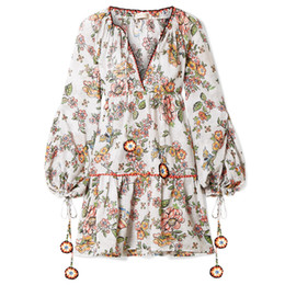 plus size women bohemia dresses Coupons - Feitong Vintage Bohemia Dress Women Sexy V-Neck Floral Patchwork Long Sleeve Loose Elegant Party Dress Female Vestido Plus Size