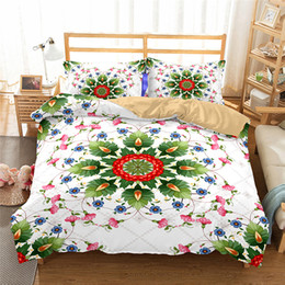 постельное белье с цветочным одеялом Скидка  bohemian style duvet cover set King Mandala flower bedding set 3D bed white quilt cover Bedclothes wedding bedding