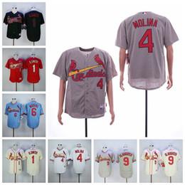 St cream online-Hombres St. Louis 1 O.smith Jersey Cardenales Yadier Molina Stan Musial Enos Masacre Blanco Rojo Crema Camisetas de béisbol