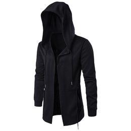 camisola preta do hoodie do casaco Desconto Primavera homens com capuz jaqueta moda Departamento Escuro Longo casaco Windbreaker hoodies outono mens preto Camisolas Cardigan trincheira