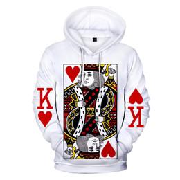 Толстовка в покере онлайн-2019 Men/Women 3D Sweatshirts Poker Diamond King Hoodie K Print Simple White Jumpers Poker Hoodies Streetwear Tops XXS-4XL