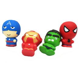Captain america spiderman hulk on-line-50 pcs Squishy Personagem de Banda Desenhada Squishy Telefone Pingente Lento Subindo Capitão América Hulk Spiderman Homem De Ferro squishies 11 CM