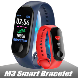 M3 Smart Wristband Fitness Tracker Heart Rate Watch Wristband Blood Pressure per iPhone Cellulari Android PK fitbit XIAOMI MI BAND 3 in Box cheap xiaomi mi box da xiaomi mi box fornitori
