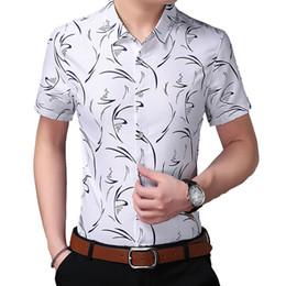 2019 tops 7xl  2019 Fashion Male Hawaiian Shirt Short-Sleeves Tops Simplicity Casual Mens Dress Shirts Slim Men Shirt Plus Size 7XL дешево tops 7xl