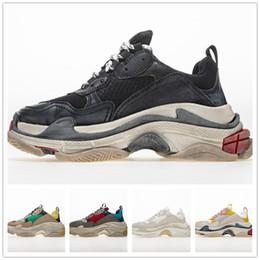 2019 tenis mujeres 2019 Moda Paris 17FW Triple-S Sneaker Triple S Casual Papá zapatos de lujo para hombres, mujeres, Beige, negro, tenis deportivo, zapatillas para correr, 35-45 rebajas tenis mujeres