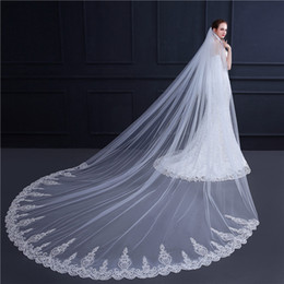 tail veil Promo Codes - Elegant Tail Lace Wedding Veils 3.5*3m Wedding Bridal Hair Accessories Wedding Accessories Bridesmaid Veils With Comb Bridal Accessories