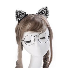 suprimentos de festa de luz negra Desconto Roupas acessórios rendas mulheres sexy headband 1 pc meninas preto lindo gato orelha cadeia cadeia jóias 20 cm feriado poliéster headband