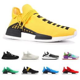 Giallo corallo online-2019 Human Race Hu pharrell williams uomo donna scarpe da corsa NERD nero crema giallo bianco gesso donne scarpe da ginnastica sportive