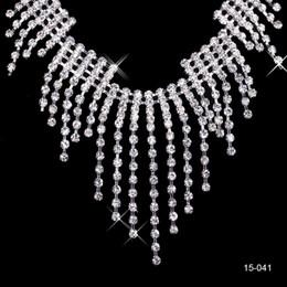 Pendientes de clip de collar online-2019 nueva joyería collar pendiente conjunto boda nupcial Prom cóctel vestidos de noche Rhinestone en Stock envío gratuito 15041