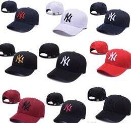 2019 ny chapeau réglable En gros de haute qualité NY Yankees mode réglable Baseball Caps Hat visière incurvée chapeaux casquette 100% coton gorras Golf Os Snapback Hat promotion ny chapeau réglable