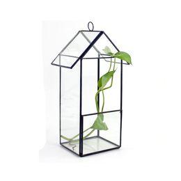 Terrario di vetro a forma di casa pensile per pianta succulenta Microlandscape Creativo vaso di fiori a effetto serra per giardinaggio indoor da