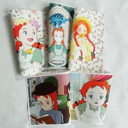 Bolsos de patchwork hechos a mano online-Anne girl teñido a mano tejido teñido bricolaje tela hecha a mano Posicionamiento de tela monedero de dibujos animados parches 15x20cm