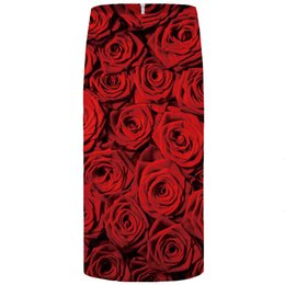 Женская красная юбка-карандаш онлайн-Юбка-карандаш Женщины Юбки Rose Юбка Женщина Red Flower Party юбка карандаш Красивые 3D печать Сарафаны Прохладный Дама Юбка Womens New