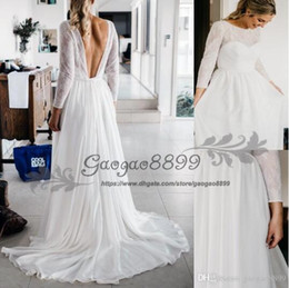 white lace bohemian maxi dress Promo Codes - 2019 summer Vintage-Inspired Hippie Maxi Lace Bohemian Long Sleeve Wedding Dresses Crochet backless Beach Boho Cheap Wedding Gowns Plus Size