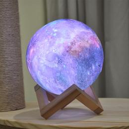 2019 lâmpada galáxia 15 cm 3D Impressão Estrela Lua Lâmpada Colorida Mudança Toque Home Decor Presente Criativo Usb Led Night Light Galaxy Lamp desconto lâmpada galáxia