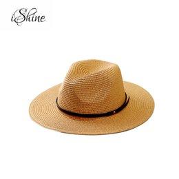 2019 cinta tejida de jacquard mujeres del sombrero de paja del verano amplia protección del sol del borde sombrero de playa protector solar plegable UV Panamá chapeu hueso grande feminino fedoras