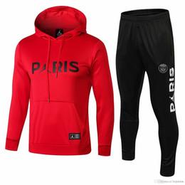 Poder rojo online-3 trajes Envío gratis DHL 18 19 psg Paris chándales rojos 2018 2019 CAVANI camisetas de fútbol Trajes de entrenamiento MBAPPE Hoodie Plus pantalones deportivos