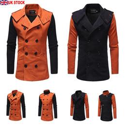 2019 homens laranja trincheira Casaco De Lã de lã dos homens de Manga Comprida Formal Engrosse Duplo Breasted Outwear Fit Jaqueta Laranja Preto Trincheira homens laranja trincheira barato
