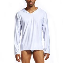 Ropa blanca de moda online-Buena calidad 2019 New Trendy Men T Shirt Moda blanca Pura ropa para el hogar con capucha Gorra de manga larga camiseta de los hombres Ropa Tops Tees