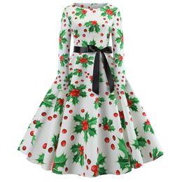 langarm rockabilly kleid Rabatt ZAN.STYLE Langarm Gürtel Weihnachten Frauen Vintage Kleid Rockabilly Schaukel Retro Kleid Baumwolle Party Vestidos De Festa Robe