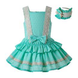 vestido verde sin mangas Rebajas Pettigirl Vestidos de niña verde menta Elegante correa de encaje Vestido de fiesta de boda sin mangas Boutique para niños Ropa de diseñador niña G-DMGD203-36