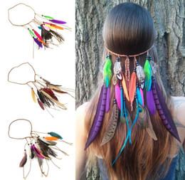 Kadın Saç Aksesuarları Bohem Stili Hairbands Tavuskuşu Tüyü Renkli Hint Saç Bantları Milliyet Tarzı Şapkalar nereden hint tüyü saç tedarikçiler