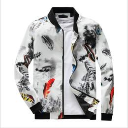 2019 uomini di fiore giacca bomber Giacca autunno hip hop da uomo primavera slim fit fiori pilota giacca bomber colletto stand da uomo cappotti abbigliamento maschile uomini di fiore giacca bomber economici