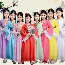 operenkostüme Rabatt Kinder Designer Kleidung Traditionellen chinesischen Volkstanz Kostüme alten Oper Tang-Dynastie Han Ming Mädchen Kinder Hanfu Kleid Kleidung LT1389