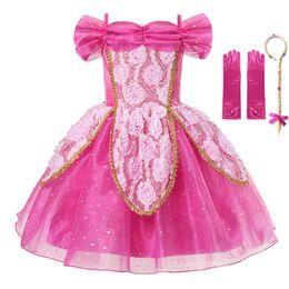 ff454ece614 VOGUEON Summer Girls Princess Dress Enfants Sleeping Beauty Élégant Floral  Bal Robe Fille Aurora Fête D anniversaire Cosplay Costume