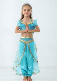 Vestidos de envío rápido online-Envío rápidamente los bebés de la lámpara de Aladdin Jasmine princesa trajes de Cosplay de los niños traje de la historieta de los niños disfraces para la fiesta de Halloween Navidad