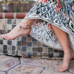 imitazione cavigliere Sconti Summer Beach Rope Anklets Imitazione Nero Bianco Rosa Perla Regolabile Piede Cavigliera Bracciali per le donne Gioielli bohemien