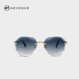 de47000e8c85 AEVOGUE Sunglasses For Women 2019 ladies Rimless Diamond cutting Lens Brand  Designer Ocean Shades Vintage Sun Glasses AE0637