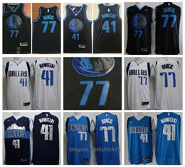 The New 2019 Men Dallas Basketball Mavericks Jersey 41 Dirk Nowitzki 77  Luka Doncic Stitching Jerseys - balck blue White da72d029d