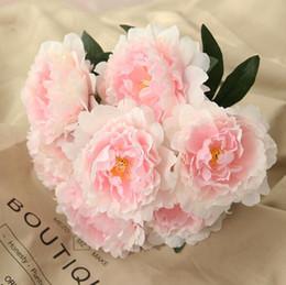 piante artificiali cinesi Sconti 2019 vendita calda fiore di seta 7 teste 13 cm fiori di peonia bouquet matrimonio artificiale fiore bouquet da sposa partito decorazione della casa 9 colore selecti