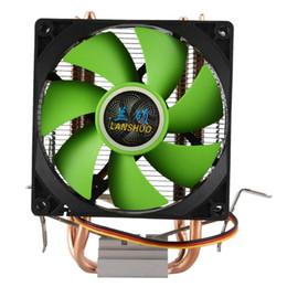 Hitze rohr kupfer online-Lanshuo Pure Copper 2 Heat Pipe für 1366 1155 775 Intel / Amd Multi-Plattform-CPU-Kühler 3 Draht ohne hellgrün