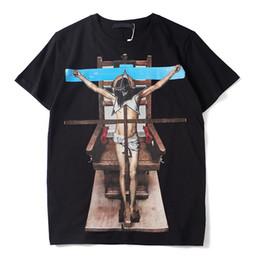 Camisetas cruzadas online-Diseñador de lujo para hombre T Shirt Hombres Mujeres de Alta Calidad de Manga Corta Parejas de Moda de Algodón de Verano de Jesús Cruz Imprimir T Shirt Tees