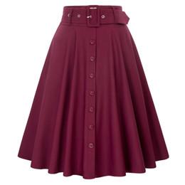 Большие кнопки пояса онлайн-Красный Лолита большой качели юбка летний стиль с ремнями кнопка украшенные женщины 50-х Ретро старинные высокой талией фигурист юбка одежда Y19043002